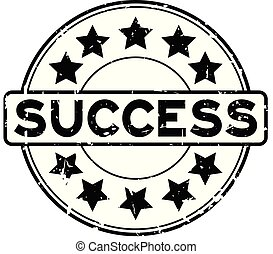 Grunge black success word with star icon rubber seal stamp on white background