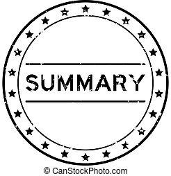 Grunge black summary word round rubber seal stamp on white background