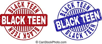 Grunge BLACK TEEN Scratched Round Stamp Seals