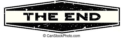 Grunge black the end word hexagon rubber seal stamp on white background
