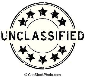 Grunge black unclassified word with star icon round rubber seal stamp on white background