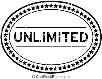 Grunge black unlimited word oval rubber seal stamp on white background