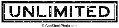 Grunge black unlimited word square rubber seal stamp on white background