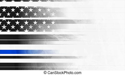 Grunge black USA flag with blue stripe video animation