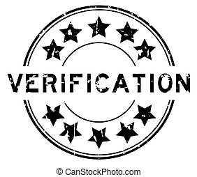 Grunge black verification word with star icon round rubber seal stamp on white background