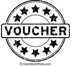 Grunge black voucher word round rubber seal stamp on white background