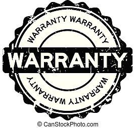 Grunge black warranty round rubber seal stamp on white background