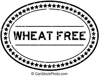 Grunge black wheat free word oval rubber seal stamp on white background
