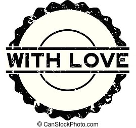 Grunge black with love word round rubber seal stamp on white background