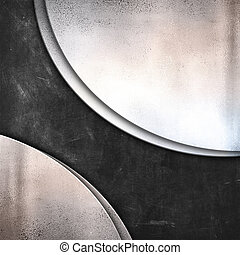 Grunge blackboard texture background with silver metal plates