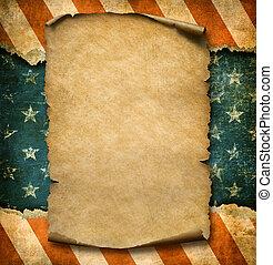 grunge, blanco, papel, declaración, encima, bandera de los e.e.u.u, día de independencia, plantilla, 3d, ilustración
