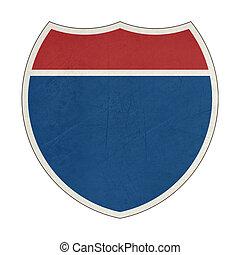 Grunge blank California Interstate Highway sign - Grunge...