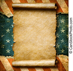 Grunge blank paper scroll or parchment over USA flag ...