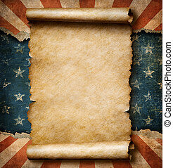 Grunge blank paper scroll over USA flag independence day template 3d illustration