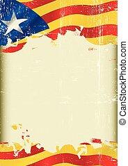 grunge, blava, catalán, bandera, plano de fondo, estelada