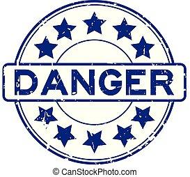 grunge, bleu, danger, rédaction, à, étoile, icône, rond, joint en caoutchouc, timbre, blanc, fond