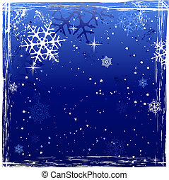 grunge, bleu, hiver, fond, flocon de neige