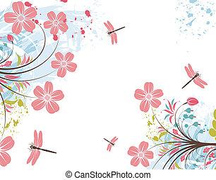 grunge, bloem, achtergrond