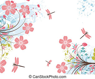 grunge, blomma, bakgrund