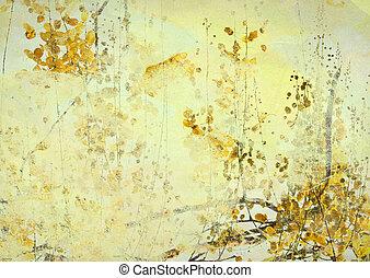 grunge, blomma, konst, gul fond