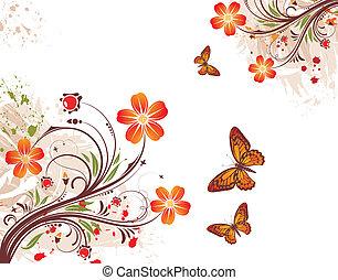 grunge, blomst, baggrund
