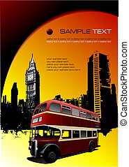 Grunge blot banner with London images. Vector illustration
