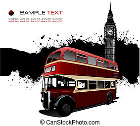 Grunge blot banner with London images. Vector illustration