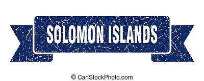 grunge, blu, ribbon., isole, solomon, banda, segno