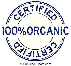 Grunge blue 100 % organic certified round rubber stamp