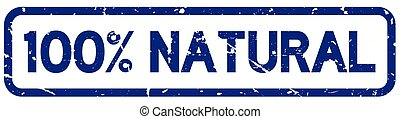 Grunge blue 100 percent natural square rubber seal stamp on white background