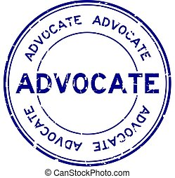 Grunge blue advocate word round rubber seal business stamp on white background