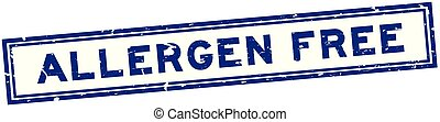 Grunge blue allergen free word square rubber seal stamp on white background