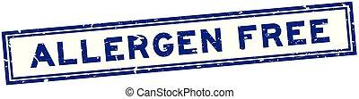 Grunge blue allergen free word square rubber seal stamp on white background