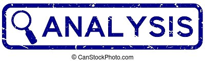 Grunge blue analysis word with magnifier icon square rubber seal stamp on white background