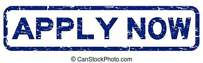 Grunge blue apply now square rubber seal stamp on white background