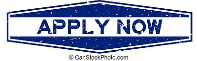 Grunge blue apply now word hexagon rubber seal stamp on white background