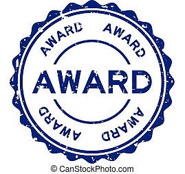 Grunge blue award word round rubber seal stamp on white background
