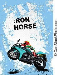 Grunge blue background with motorc