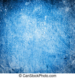 Grunge blue background with stains and scratches