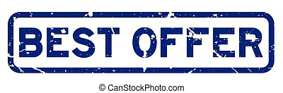 Grunge blue best offer square rubber seal stamp on white background