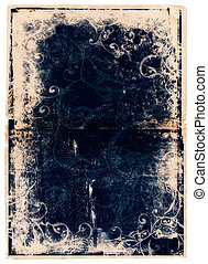 grunge blue book page with scrolls