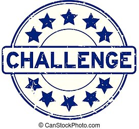 Grunge blue challenge with star icon round rubber seal stamp