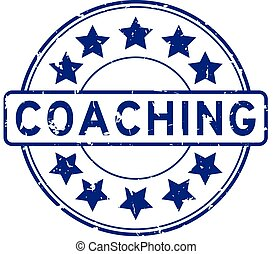 Grunge blue coaching word with star icon round rubber seal stamp on white background