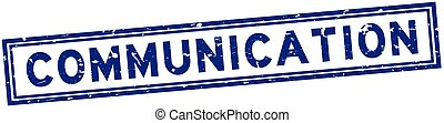 Grunge blue communication word square rubber seal stamp on white background