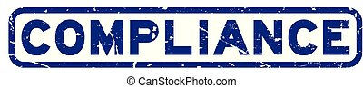 Grunge blue compliance word square rubber seal stamp on white background