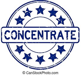 Grunge blue concentrate word with star icon round rubber seal stamp on white background
