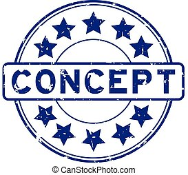 Grunge blue concept word with star icon round rubber seal stamp on white background