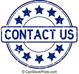 Grunge blue contact us word with star icon round rubber seal stamp on white background