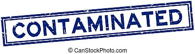 Grunge blue contaminated word square rubber seal stamp on white background
