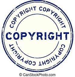 Grunge blue copyright round rubber seal stamp on white background